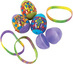 Fun Express - Religious Stained Glass Easter Eggs for Easter - Party Supplies - Containers & Boxes - Plastic Containers - Easter - 12 Pieces