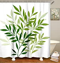 LIVILAN Shower Curtain Set with 12 Hooks Leaf Print Bath Curtain Home Decorations Fabric Home Curtain Machine Washable Privacy Curtain, 72 X 72 Inch, White Green