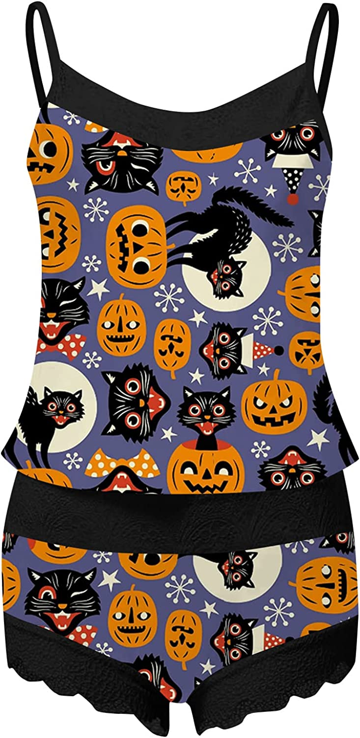DVCB Women's Halloween Pajama Set Sleeveless Lace Sling with Comfortable Shorts Bat and Skull Hand Patterned Underwear