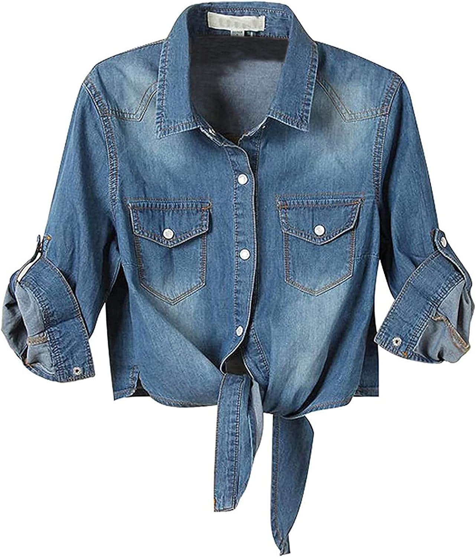 Denim Shirt for Women's Casual 3/4 Sleeve Button Down Crop Jean Top Knot Tie Ladies Cool Jacket Short Swearshirt