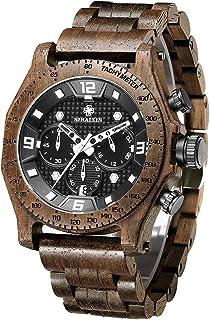 Wood Watches for Men Unique Hand-Made Men's Wrist Watch Chronograph Walnut Wood Band Luxury Business Quartz Wristwatch Waterproof Multifunction Date Watch Man SIHAIXIN A19G