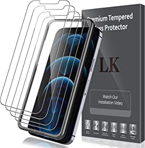 5 Pack LK 4pcs Screen Protector Tempered Glass and 1pcs Installation Tray Compatible with iPhone 12 Pro/iPhone 12 6.1-inch, Bubble Free, Case Friendly