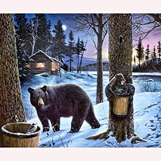 5D Diamond Painting,Diamond Painting Kits,Bear in the snow diy painting by number kit for adults kids beginners teens12x16...