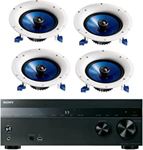 Sony 5.2-Channel 725-Watt 4K A/V Home Theater Receiver + Yamaha Natural High-Performance Moisture Resistant 2-Way 110 watts Surround Sound in-Ceiling Speaker System (Set of 4)