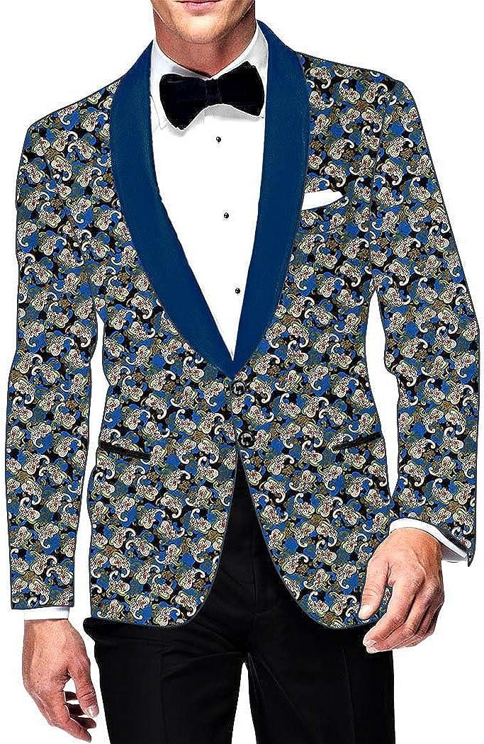 INMONARCH Mens Slim fit Casual Black Printed Cotton Blazer Sport Jacket Coat Partywear SB14497
