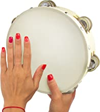 Tambourine 8 inch Double Row Jingles - Handheld Tambourine for Church Kids Adults