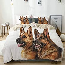 BGNHG Decorative Duvet Cover Sets Bed Sheets,Beige,Drawing of The Dog German Shepherd Dog,3 Piece Bedding Set with 2 Pillow Cases Queen Size