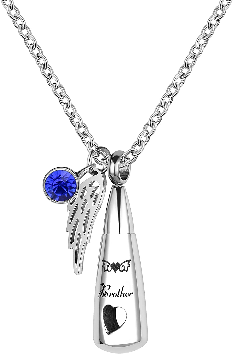 TCHYUN Cremation Urn Necklace Ashes Memorial Pendant Keepsake Stainless Steel Collection Death Love Heart Angel Wing Mom Cat Nana Dad Husband Wife Brother Aunt Daughter Grandma Grandpa Dog Mens Womens