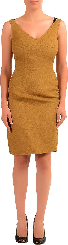 DSQUARED2 Linen Brown Sleeveless Women's Sheath Dress US S IT 40