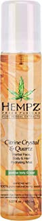Hempz Fresh Fusions Citrine Crystal & Quartz Herbal Face, Body & Hair Hydrating Mist, 5.07 oz. - Premium, Natural All Over...