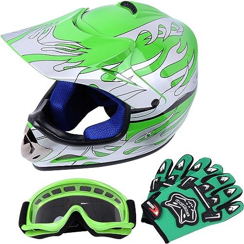 Samger Dot Enfant Casque Hors-Route Casque Motocross Dirt Bike Casque de Moto avec Gants+Lunettes (Vert,S)