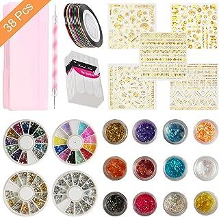 AIFAIFA Nail Art Decoration Kits, Nail Studs, Nail Sequins, Nail Rhinestones, 10Sheet Nail Sticker and Decals, 10 PCS Striping Tape, 6 Nail Sequins, 6 Nail Glitter, 1 Dotting Pen with a Storage Box