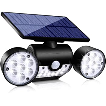 Ollivage Solar Lights Outdoor, Motion Sensor Security Lights Solar Wall Lights with Dual Head Spotlights 30 LED Waterproof 360° Adjustable Solar Motion Lights Outdoor for Garden Garage Patio, 1 Pack