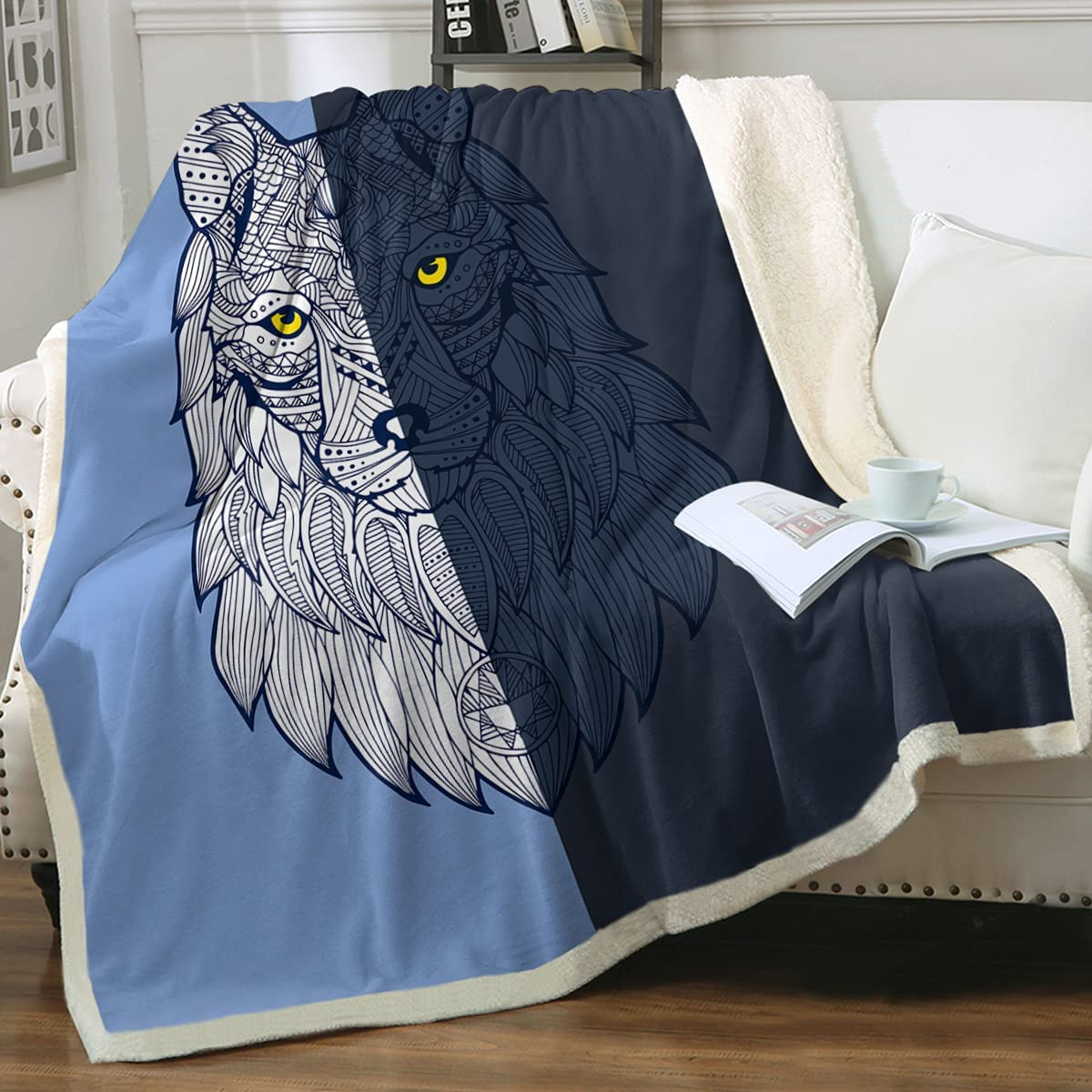 Sleepwish Wolf Blanket Blue Tribal Direct stock discount Wol Fleece Soft Long-awaited Throw
