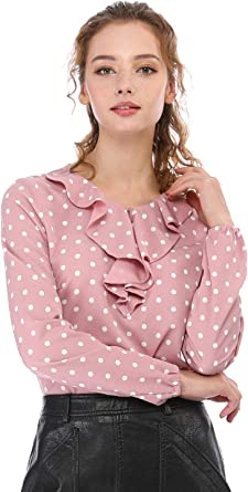 Allegra K Blusa Túnica Camisa Lunares Vintage Manga Larga Cuello De Volantes para Mujer