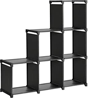 SONGMICS 6-Cube Storage Rack, Staircase Organizer, DIY Storage Shelf, Bookcase in Living Room, Children's Room, Bedroom, for Toys and Daily Necessities, Black