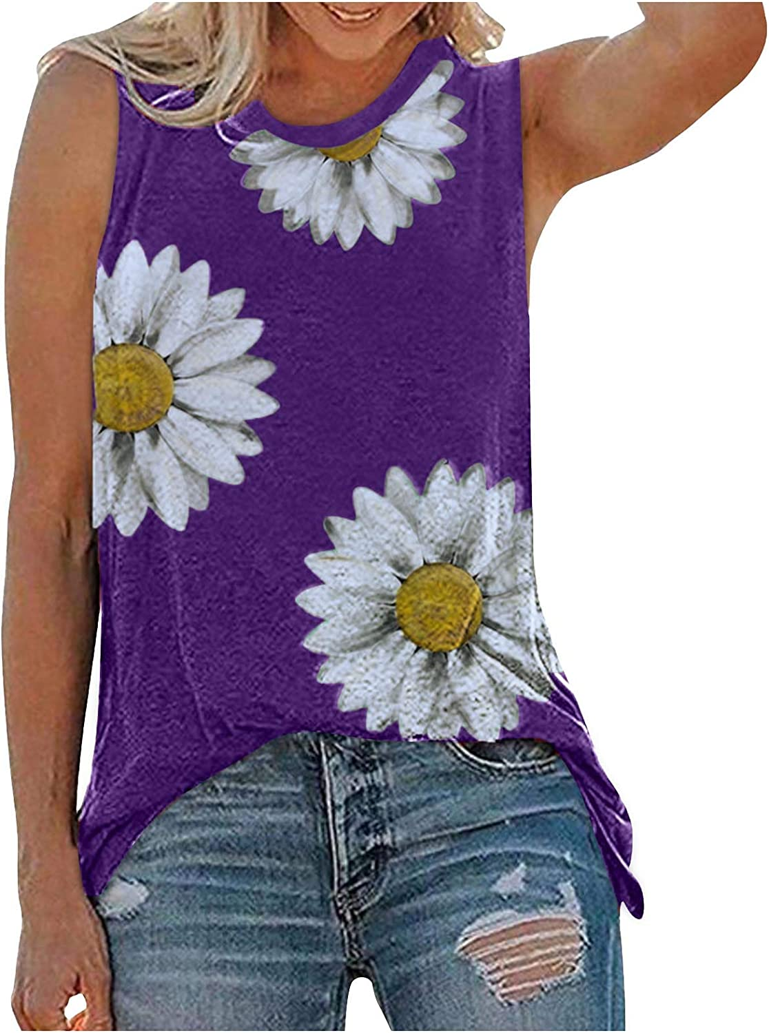 Gerichy Womens Tank Tops, Womens Tops Summer Loose Fit Plus Size Sleeveless Tank Tops Casual Graphic Tee Shirts