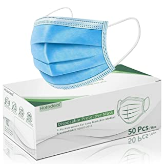 Hotodeal 50 Pcs Disposable Face Masks, Breathable Face Mask 3 Layer Protection Best Facemask, Lightweight Dust Protective Facial Masks for Adult, Men, Women, Indoor, Outdoor Use