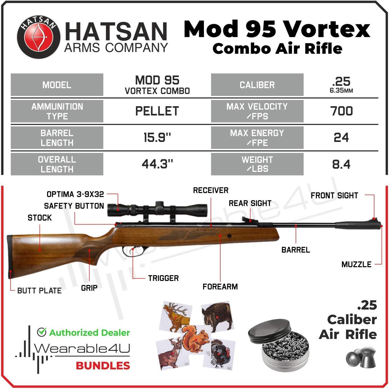 Hatsan Mod 95 Vortex Combo Air Rifle with Wearable4U 100x Paper ...