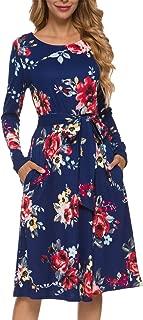 Women's Flowy Striped Long Sleeve Pocket Modest Work Midi Dress with Belt