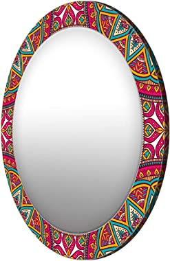 999Store Printed Classical Floral Pattern Round Mirror (MDF_24X24 Inch_Multi)