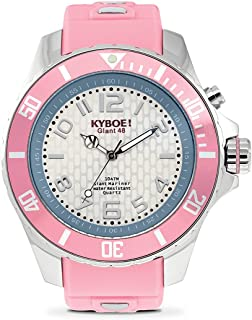 KYBOE! Power Stainless Steel Quartz Watch with Silicone Strap, Pink, 22 (Model: KY.48-028.15)