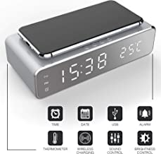 Keen Digital Alarm Clock and Qi Charging Stand (2-in-1) Time, Date, and Temperature | Daily and Weekly Custom Alerts | Fast Charger Smartphone for Bedroom, Office Use