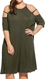 IN'VOLAND Women's Plus Size Summer Cold Shoulder Tunic Top Swing T-Shirt Loose Dress