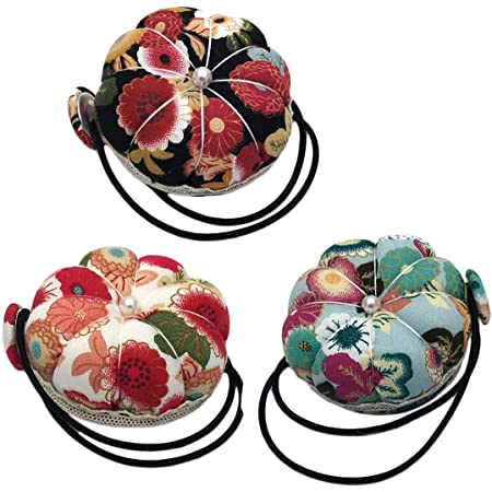 2 Packs CUSHYSTORE Pink Floral Small Wrist Pin Needle Cushion Pincushion for Sewing with Adjustable Elastic Strap Sewer Gift