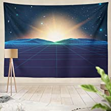 Summor Tapestry Retro Old Landscape Digital Retro Landscape Planet Surface Retro Futuristic Music Album Hanging Tapestries 60 X 80 Inch Wall Hanging Decor for Bedroom Livingroom Dorm