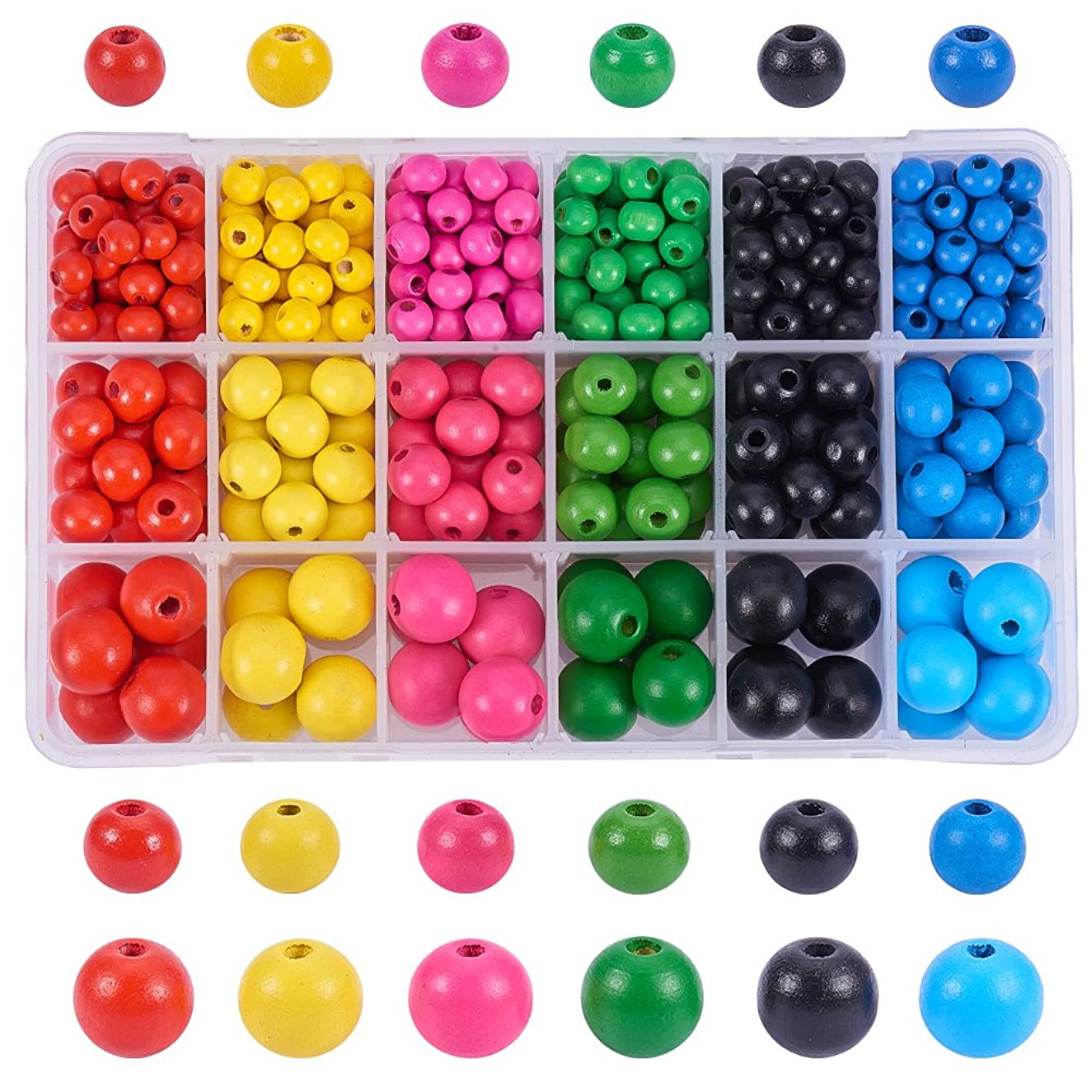 PH PandaHall About 450pcs 6 Color 3 Size Dyed Environmental Round Wood Beads Assorted in Box for DIY Crafting Jewelry Making