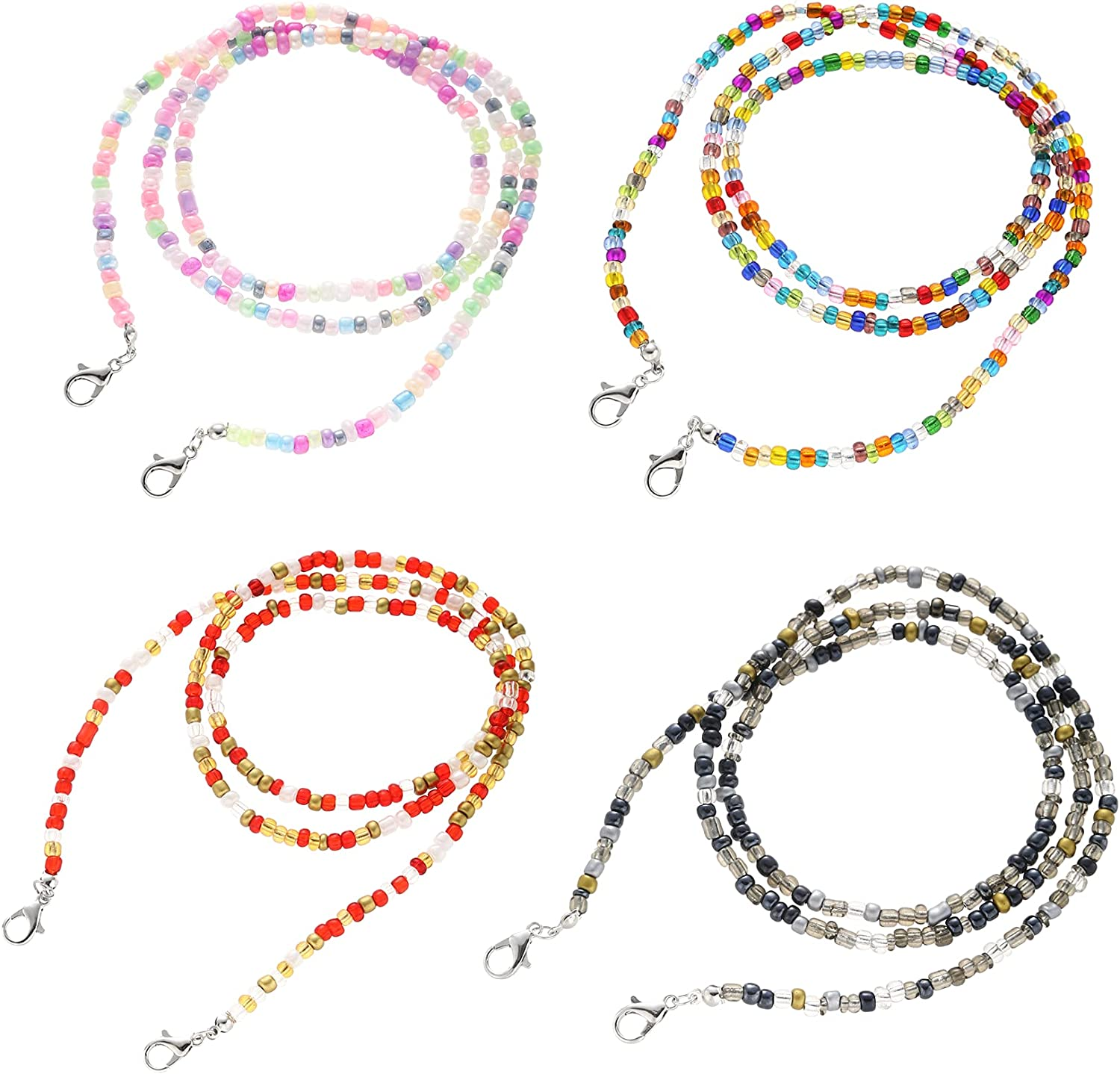 Hsarsup Lanyards for Outdoor with Clips Bead Eyeglass Neck Chain Strap Beaded Holders Multi-Functional