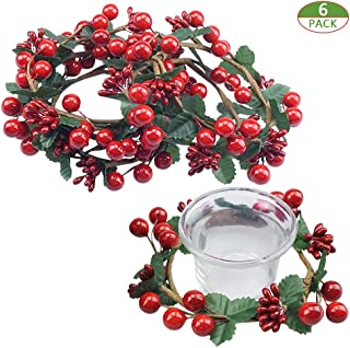 Shxstore-1 Berry Candle Ring Holly Leaves Red Stamens Garland of Votives Candle Holders Decor, Artificial Mini Berry Wreath for Christmas Decorations, 6 Pack
