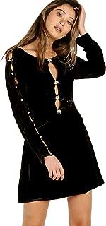 Beatrix Velvet Button Sleeve Dress