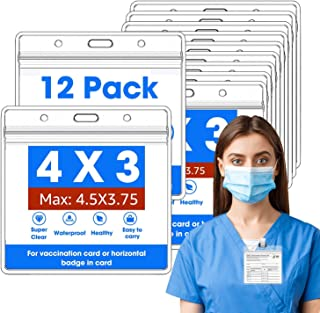 Vaccination Card Protector, CDC Vaccination Card Holder, 12 Pack Extra Thick and Large Card Protector, Vaccination Card Pr...