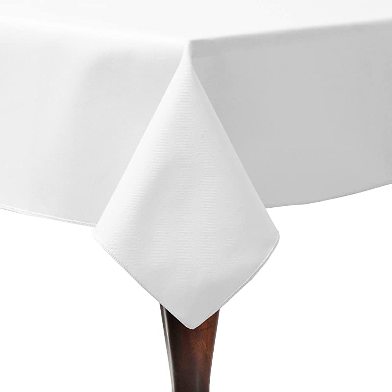 Ultimate Textile Poly Cotton Twill 60 X 108 Inch Rectangular Tablecloth White