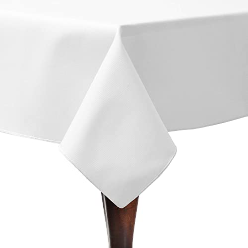 Ultimate Textile Poly-Cotton Twill 60 x 90-Inch Rectangular Tablecloth White