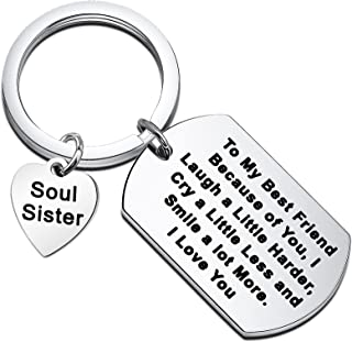 BEKECH to My Best Friend Keychain Friendship Gift Because of You I Laugh A Little Harder Thank You Gift