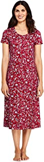Lands' End Women's Supima Cotton Short sleeve Midcalf Nightgown - Print