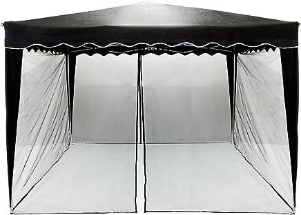 INSTENT® Moskitonetz für 3x3 Pavillon 12 m Farbwahl: schwarz oder weiß, 2X Reißverschluss, mit Klettbändern zur Befestigung, Fliegennetz, Insektenschutz, Fliegengitter Pavillon