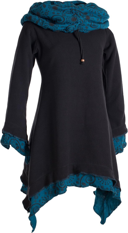 Vishes - Alternative Bekleidung - Lagenlook Zipfelkleid aus Eco Fleece mit Langen Ärmeln und großem Kapuzenschalkragen Schwarz