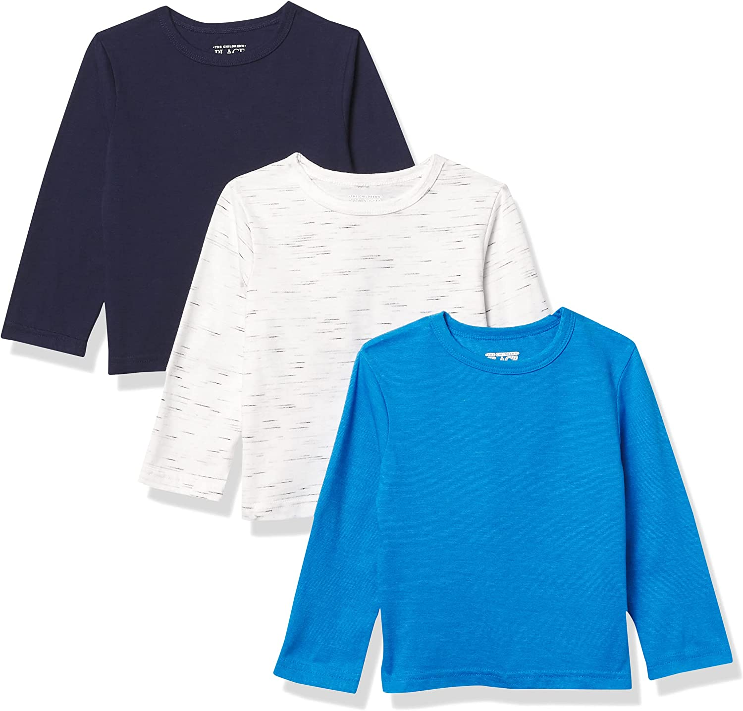 The Children's Place and Toddler Boy Long Sleeve Marled Top 3-Pack