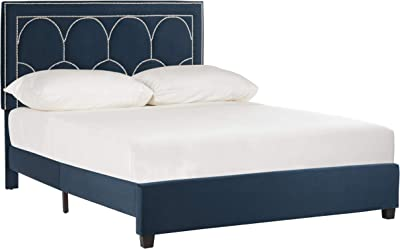 Safavieh Home Solania Contemporary Navy Velvet Bed, Queen