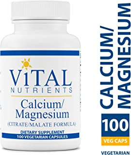 Vital Nutrients - Calcium/Magnesium (Citrate/Malate) - Cardiovascular, Muscle, and Bone Support - 100 Vegetarian Capsules per Bottle