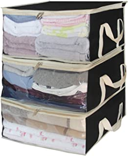 SLEEPING LAMB Foldable Storage Bags, Clothes Organizer Storage Containers for Clothing, Sweater, Bedding, Pillows, Blanket Storage Box in Bedroom, Closet,3 Piece Set, Black