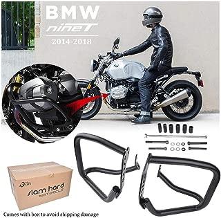 FATExpress Crash Bar Bars for 2014-2018 BMW R Nine T Motorcycle Flat Black Aftermarket Steel Engine Guard Highway Frame Protector Slider Bumper R9T Racer Scrambler Pure 2015 2016 2017