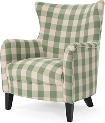 Christopher Knight Home Oliver Farmhouse Armchair, Green Checkerboard, Dark Brown