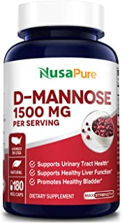 D-Mannose 1500 mg per Serving - 180 Vegetarian Capsules (Non-GMO & Gluten-Free).with Organic D-Mannose