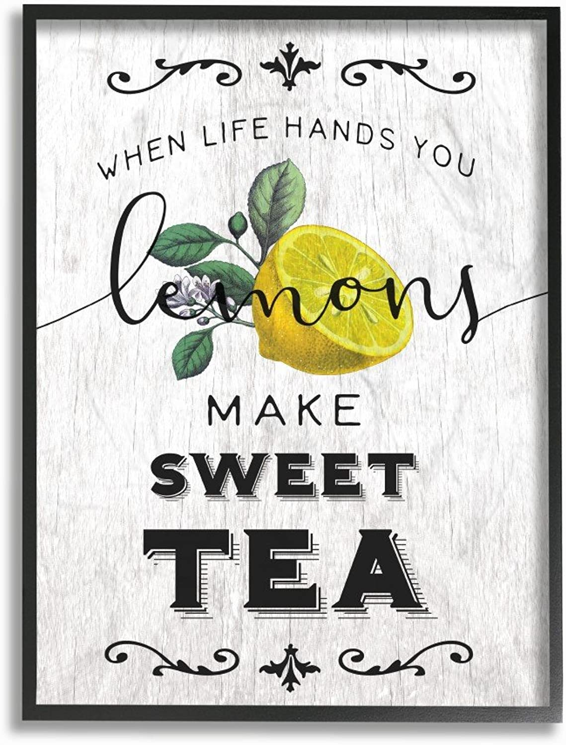 The Stupell Home Decor Collection Life Hands Lemons Make Sweet Tea Southern Typography Framed Giclee Texturized Art, 11 x 1.5 x 14, Multicolor