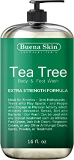 Tea Tree Antifungal Body Wash Extra Strength - Antibacterial Soap for Acne, Body Odor, Foot and Toenails - Helps Wash Away...